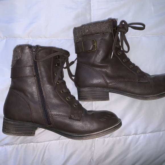 Rampage Shoes - Brown lace up combat boots